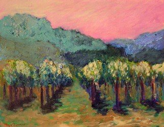 Roz Zinns: 'Noon on the Vineyard', 2007 Acrylic Painting, Landscape.   Calif. Wine Country  ...