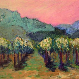Roz Zinns Artwork Noon on the Vineyard, 2007 Acrylic Painting, Landscape