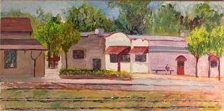 Roz Zinns: 'Old Martinez', 2005 Acrylic Painting, Cityscape. Old railroad depot and Hotdog Depot...