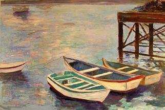 Roz Zinns: 'Open Channel', 2006 Acrylic Painting, Marine. Beautiful reflective water with rowboats and a dock...