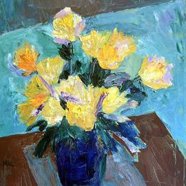 Roz Zinns: 'Roses in a Blue Vase', 2004 Acrylic Painting, Floral. Artist Description: Yellow roses textured heavily with a painting knife.  Contemporary interpretation with blues and browns....