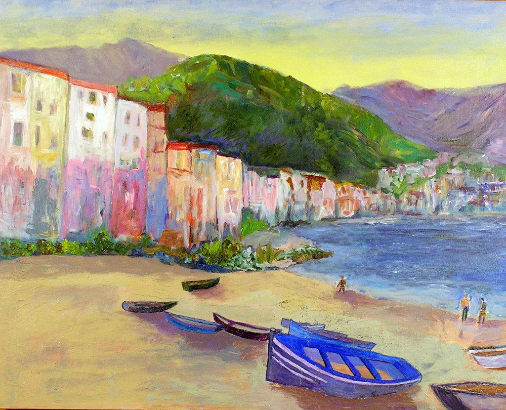 Roz Zinns Artwork: Sicily Beach | Original Painting ...