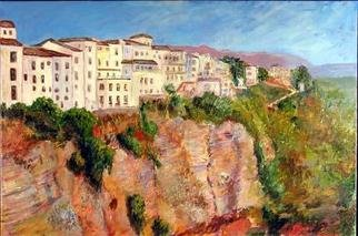 Roz Zinns: 'Spanish Hilltown', 2006 Acrylic Painting, Cityscape. Ronda, Spain: a beautiful city with sweeping vistas.  Deep gorges and dramatic views....