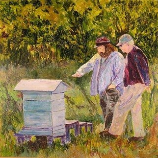 Roz Zinns: 'The Bee Keepers', 2007 Acrylic Painting, People.  Checking out the bees. ...