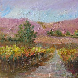 Roz Zinns Artwork Vineyard Gold , 2009 Acrylic Painting, Landscape