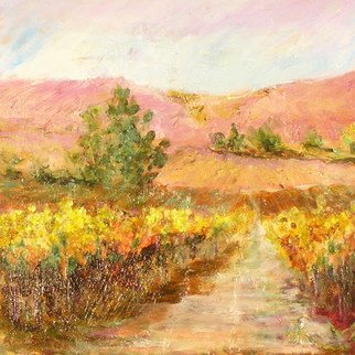 Roz Zinns: 'Vineyard Gold 2', 2010 Acrylic Painting, Landscape.       California Wine Country     ...