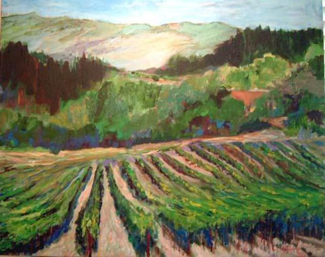 Roz Zinns  'Vineyards', created in 2004, Original Collage.