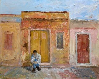 Roz Zinns: 'Waiting', 2011 Oil Painting, World Culture.   Man waiting in a doorway in a hot climate   ...