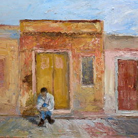 Roz Zinns: 'Waiting', 2011 Oil Painting, World Culture. Artist Description:   Man waiting in a doorway in a hot climate   ...