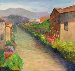 Roz Zinns: 'Warm Afternoon 2', 2010 Acrylic Painting, Landscape.  An alley leading to the California hills ...