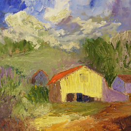 Roz Zinns Artwork Yellow Barn, 2010 Oil Painting, Landscape