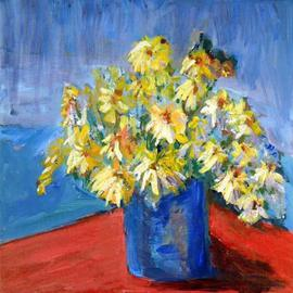 Roz Zinns: 'Yellow Daisies', 2005 Acrylic Painting, Floral. Artist Description: Bright yellow daisies in a blue vase on a red tablecloth.  Wonderful primary colors to brighten up your day....