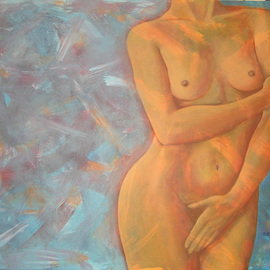 Rute Santos: 'Shy Girl', 2007 Acrylic Painting, Nudes. Artist Description:  Shy Girl ...