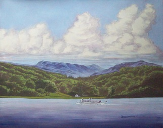 Painting by Robert Jessamine titled: Lake Winderemere England, created in 2013