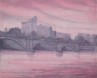 Acrylic Painting by Robert Jessamine titled: London Putney Bridge Sunset, 2014