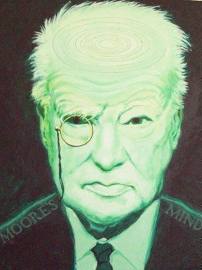 Robert Jessamine: 'moores mind', 2019 Oil Painting, Portrait. A portrait of Sir Patrick Moore the famous astronomer who presented   The Sky at Night  T. V. programme for many years . Painted in alien greens with an image of the solar system embossed on his domed head. ...
