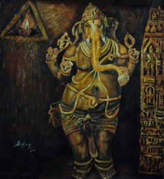 Sankara Narayanan Artwork lord ganesh, 2017 Oil Painting, Hindu