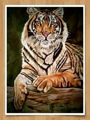 Sankara Narayanan Artwork tiger oil painting, 2017 Oil Painting, Animals