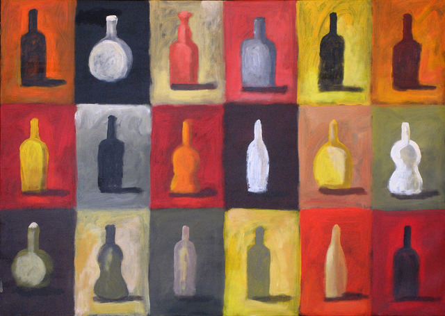 Alberto Ruggieri  'Bottles', created in 2009, Original Painting Acrylic.