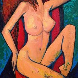 Rumen Sazdov: 'Sweet dreams', 2019 Oil Painting, Nudes. Artist Description: Expressive composition a dreaming nude women.  Oil on canvas...