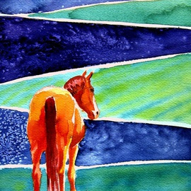 Karin L. Ruoff Artwork Fields of Blues 4, 2006 Embossing, Equine