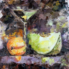 Elena Zorina: 'Fruit duo', 2015 Oil Painting, Still Life. Artist Description:  peaches, melon, fruit, glass, chocolate, still life, sweet melon, impressionism ...