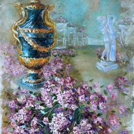 Elena Zorina: 'Pink dream', 2015 Oil Painting, Still Life. Artist Description:   Rose, Peterhof, floral still life, years, years of still life, pink roses, climbing roses, climbing roses, vases. flowerpot, Tsarskoye Selo, St. Petersburg ...
