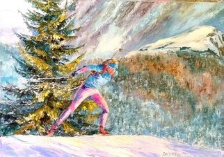 Elena Zorina: 'minute to finish', 2017 Oil Painting, Sports. Artist Description: Skiing, biathlon, skier, snow, winter, mountains, competitions, finish...