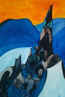 Ruth Therese: 'Aiguille du Midi', 2011 Watercolor, Mountains. Artist Description: The striking mountain Aiguille du Midi, with Mont Blanc seen behind. Mountain landscape, geometrical, semi- cubisme, colorful, winter, blue shades. ...