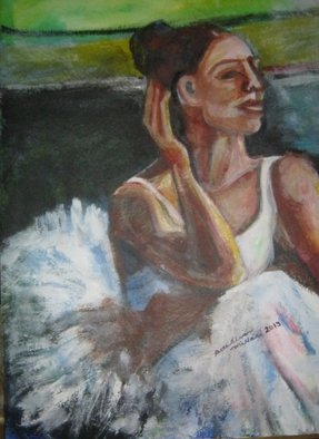 Acrylic Painting by Ruth Olivar Millan titled: Before the Ballet, created in 2014