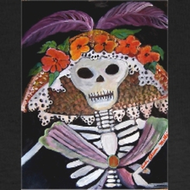 Ruth Olivar Millan: 'El Dia de los Muertos', 2010 Acrylic Painting, Death. Artist Description:   El dia de los Muertos. . . . day of the Dead. This image made popular my the political activitiest of Mexico. Katrina is a mythical figure in Mexican and Early California literature ...