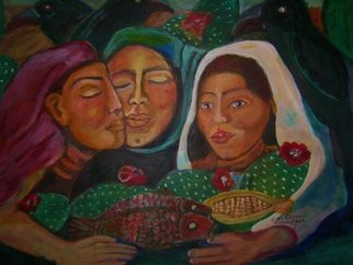 Acrylic Painting by Ruth Olivar Millan titled: Hermanas Sisters, created in 2013