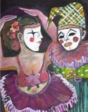 Ruth Olivar Millan: 'I AM NOT WHO YOU THINK Clown', 2009 Acrylic Painting, Clowns. Artist Description:  Brillant colors of clowns mysterially hidden in masks, denote fear to the interactionist. Original painting by Ruth Olivar Millan. . . Hungry artist. ...