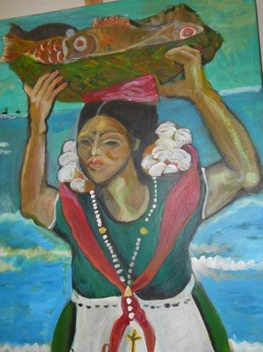 Artist: Ruth Olivar Millan - Title: Women at  Work - Medium: Acrylic Painting - Year: 2010