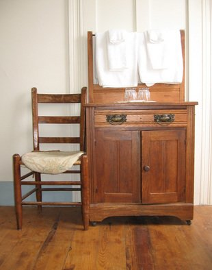 Ruth Zachary: 'Americana', 2006 Color Photograph, Americana.  Antique oak bureau and chair, contrasting brass drawer pulls, glasses and towels.  Charming interior or the Victorian Monhegan House Hotel, Monhegan Island, Maine.  5 x 7