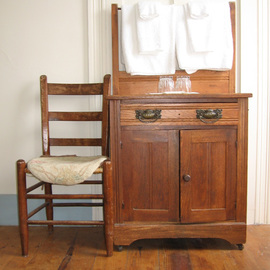 Ruth Zachary: 'Americana', 2006 Color Photograph, Americana. Artist Description:  Antique oak bureau and chair, contrasting brass drawer pulls, glasses and towels.  Charming interior or the Victorian Monhegan House Hotel, Monhegan Island, Maine.  5 x 7