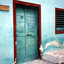 Ruth Zachary: 'Aqua Mexicana', 1998 Color Photograph, Travel. Artist Description:  Isla Mujeres, off the coast of Cancun, Yucatan, Mexico.  Colorful old aqua/ turquois wall, nice textures, contrasts and shapes.  11 x 14