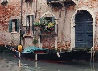 Ruth Zachary: 'Canal Around The Corner', 1997 Color Photograph, Travel. A quiet canal in Venice, Italy,  far away from the tourists on a quiet afternoon.  A graceful gondola sits peacefully in front of an antique home, shutters, wrought iron trim, flowers, perhaps centuries of secrets. Perfect Venice scene.  Limited edition, signed and numbered.  11 x 14 image in a 16 ...