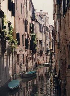 Ruth Zachary: 'Canal In Between', 1997 Color Photograph, Travel. Hidden perfection, Venice, Italy, amidst the twists and turns of Venice, is this little canal, small boats and their reflections between antique buildings of old stone, wrought iron trimmed sills and window greenery.  Limited edition, signed and numbered.  11 x 14 image in 16 x 20 acid free mat.  Please ...