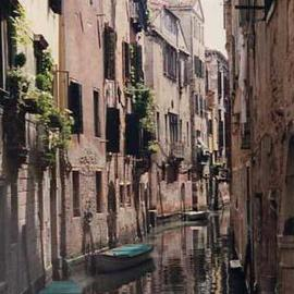 Ruth Zachary: 'Canal In Between', 1997 Color Photograph, Travel. Artist Description: Hidden perfection, Venice, Italy, amidst the twists and turns of Venice, is this little canal, small boats and their reflections between antique buildings of old stone, wrought iron trimmed sills and window greenery.  Limited edition, signed and numbered.  11 x 14 image in 16 x 20 acid free ...