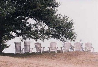 Ruth Zachary: 'End Of Day', 2000 Color Photograph, Americana.  Adirondack chairs all in a row under the boughs of an old tree.  Empty now as dusk approaches.  Monhegan Island, Maine on the lawn of the Monhegan House. 11 x 14