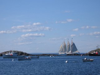 Ruth Zachary: 'Full Sail', 2006 Color Photograph, Sailing.  Three- masted schooner in full sail, off the coast of Monhegan Island, Maine. Blue sky dappled with clouds, deeper blue ocean, rocky coast.  11 x 14