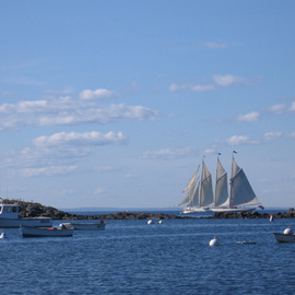 Ruth Zachary: 'Full Sail', 2006 Color Photograph, Sailing. Artist Description:  Three- masted schooner in full sail, off the coast of Monhegan Island, Maine. Blue sky dappled with clouds, deeper blue ocean, rocky coast.  11 x 14