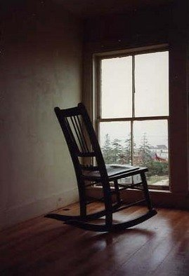 Ruth Zachary: 'Keeping Watch', 1998 Color Photograph, Americana.  Antique rocking chair sits at window seeming to keep watch out to the sea.  When will her seaman return? Nostalgic, romantic, charming.  11 x 14