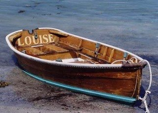 Ruth Zachary: 'Louise', 2004 Color Photograph, Boating.  Beautiful wooden skiff on Fish Beach, Monhegan Island, Maine. Note the classy contrasting aqua/ turquoise blue stripe.  Christened LOUISE.  5 x 7 in an 11 x 14 acid free mat.  Signed and titled.  Larger size available. Enjoy! ...