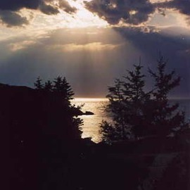Ruth Zachary: 'Night Shine', 2012 Color Photograph, Sky. Artist Description: A rare sunset sky, rays bursting amid clouds of gray, over silver sea, trees in silhouette. ...
