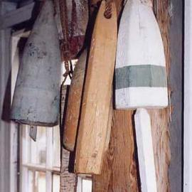 Ruth Zachary: 'Old Buoys', 2001 Color Photograph, Boating. Artist Description: Original old wooden lobster buoys, Maine, USA!  Now retired after many years floated on the sea to mark the location of the lobster traps. Classic shapes, fine textures and subtle New England colors. Monhegan Island. Maine. 11 x 14