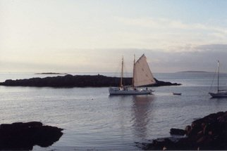 Ruth Zachary: 'Sailing By', 2000 Color Photograph, Sailing.  Dusk approaches, and the sail boat winds her way between the small islands heading to port.  One sail up, dingy trailing behind. Peaceful, atmospheric.  Off the coast of Maine.  5 x 7 in a 11 x 14 acid free mat.  Signed and titled.  Larger image available.  Enjoy!  ...