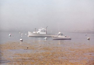 Ruth Zachary: 'Silver and Gold', 2006 Color Photograph, Boating.  White lobster boats, golden sea grass. . . all in silvery fog.  Ethereal, atmospheric, a bit haunting.  Harbor, Monhegan Island, Maine.  5 x 7 image in 11 x 14 acid free mat.  Signed and titled.  Enjoy!  Larger sizes available. Your comments and questions are most welcome. ...