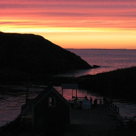 Ruth Zachary: 'Sky Celebration', 2012 Color Photograph, Sky. Artist Description: Sunset in stripes of purple, pink, apricot  and yellow, reflected in indigo sea, islands in silhouette, dock in shadow. Monhegan Island, Maine. Larger size available, 11 x 14, $98. ...